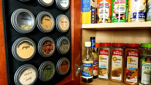 make a magnetic spice organizer from a baking sheet