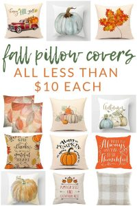 Shop farmhouse style fall pillow covers and pillows - these budget-friendly buys are perfect for changing your home decor for fall. Decorate with affordable throws and pillow covers.