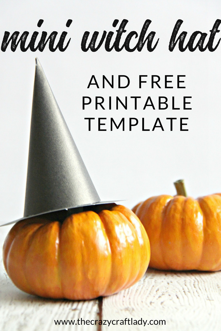 Make a paper mini witch hat - perfect for mini pumpkins and Halloween decor. Download the free printable template to make your own paper witch hat.