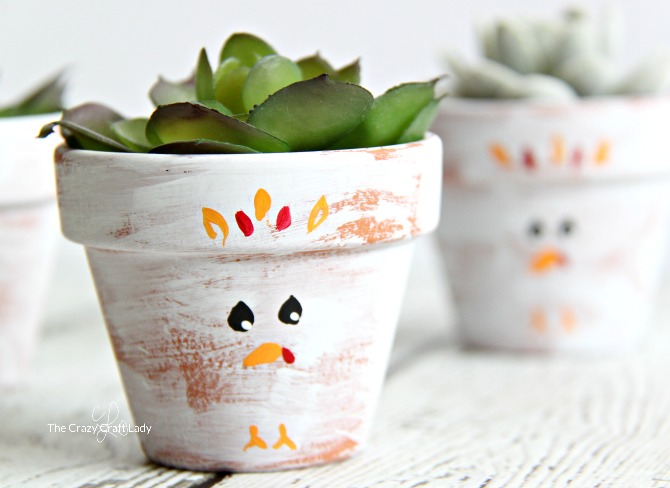 Paint simple turkey clay pots with mini succulents this fall. Use craft paint to add turkey faces to mini terracotta pots for the perfect Thanksgiving craft!
