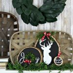 Painted Winter Wood Slice Craft - Chalk Paint Christmas Wood Round Craft