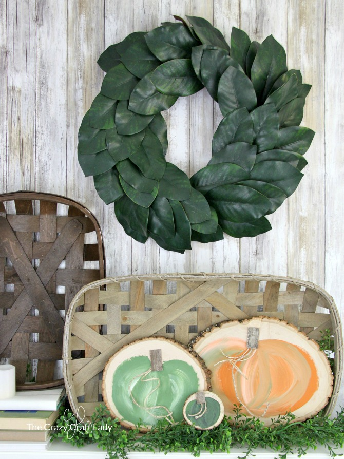 How to Paint Farmhouse-Style Fairytale Pumpkins - DIY Farmhouse Pumpkin Wood Round Craft