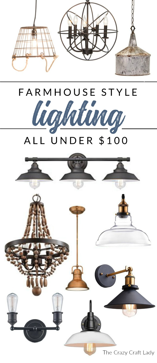 Shop these farmhouse lighting solutions, and they're all under $100. Farmhouse style lighting on a budget, without sacrificing style!