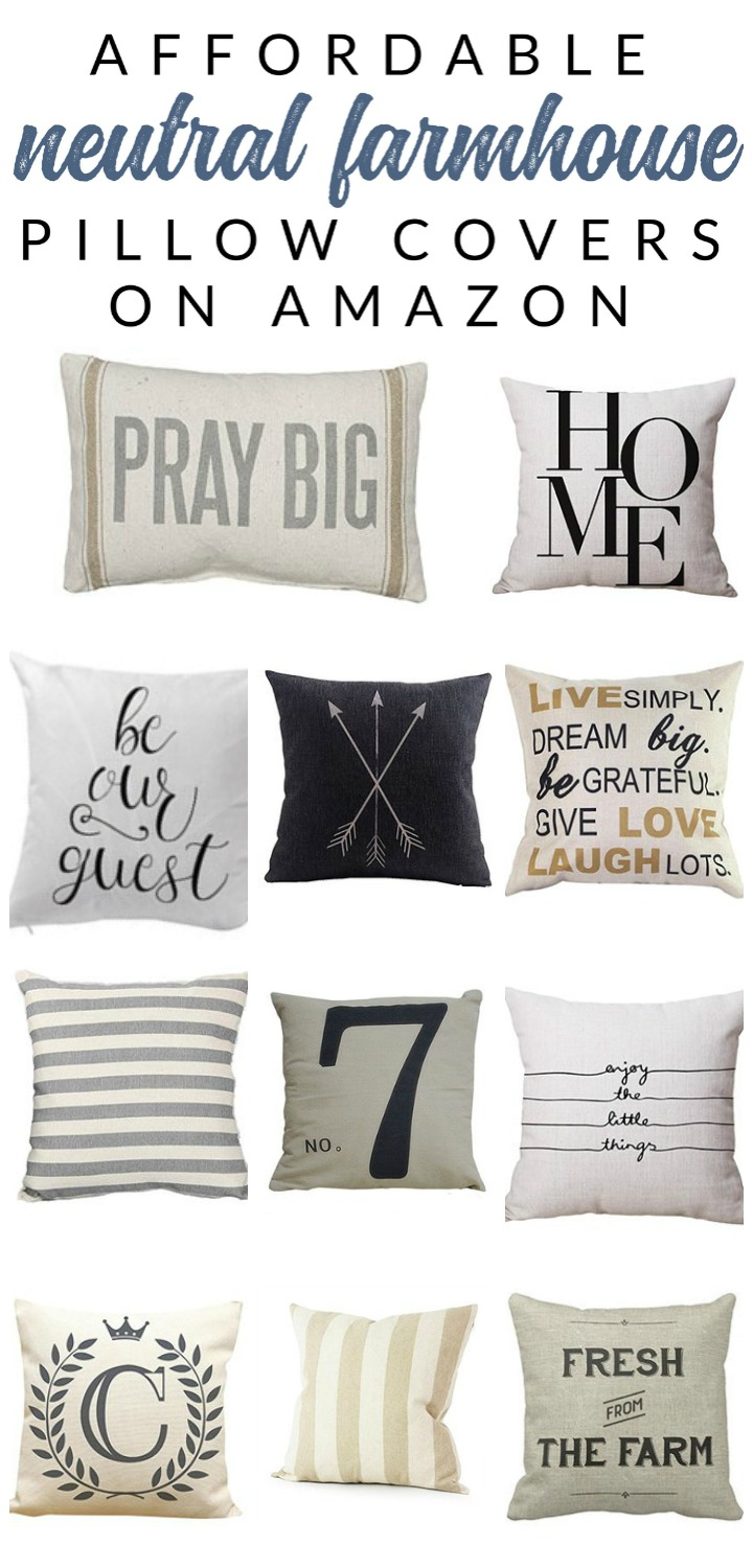 Shop affordable neutral and farmhouse pillow covers – these budget-friendly buys are perfect for changing your home decor easily and inexpensively. Decorate with affordable throws and pillow covers.