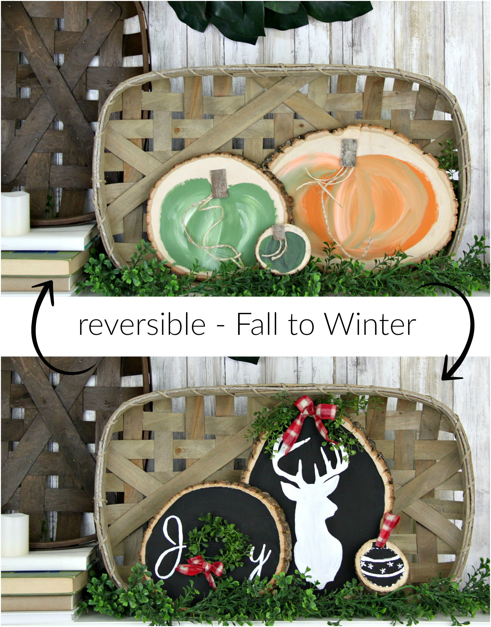 Seasonal wood round crafts transition seamlessly from fall to winter. Make your holiday craft reversible, and get two-for-one decor. Farmhouse-style fairytale pumpkins on one side and a Christmas scene on the other.