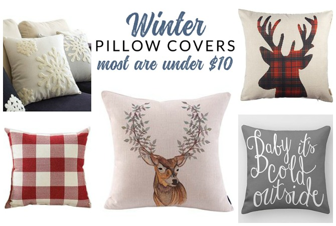 Shop affordable winter pillow covers of all styles – these budget friendly buys are perfect for changing your home decor for winter.
