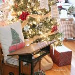 Come tour this cozy family room with tips for simple, budget-friendly classic Christmas decorating. Easy Christmas farmhouse decor ideas and Christmas home tour, plus ideas for decorating with two Christmas trees.