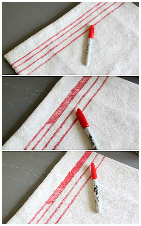 How to make inexpensive DIY Christmas pillows - using a drop cloth and Sharpie markers. This budget-friendly holiday decorating idea is pure genius! How to make your own drop cloth pillow covers in any style.