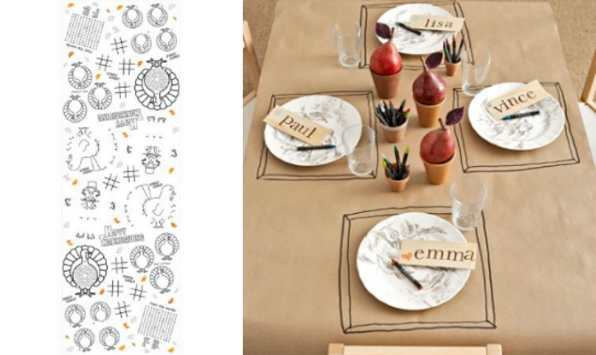 Here are two ideas perfect for the little ones this holiday. Be sure to have plenty of crayons on hand for coloring, which is exactly what these tablecloth ideas are for. Thanksgiving tablecloth ideas for kids.