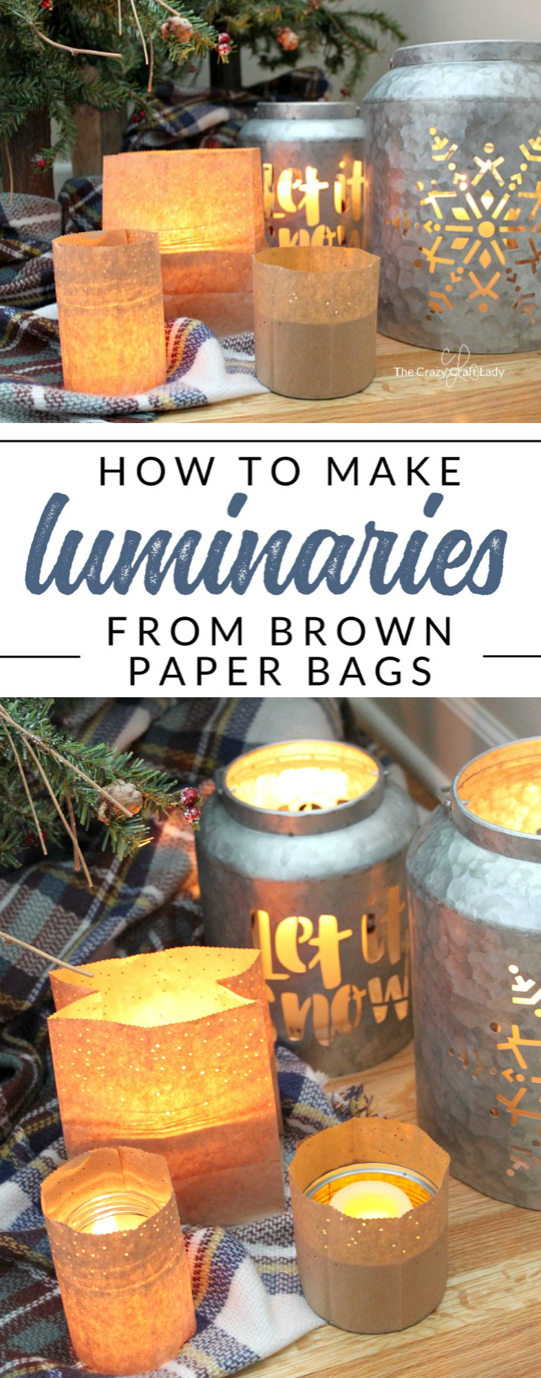 How to make simple brown paper bag lanterns, perfect for winter crafting. This easy paper craft will cozy up any space with candles and warmth.