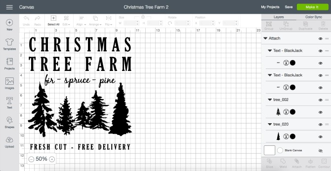 Learn how to make a custom stencil and paint a Christmas Tree Farm sign on scrap wood. Plus a FREE tree line template file for using in your Cricut projects.