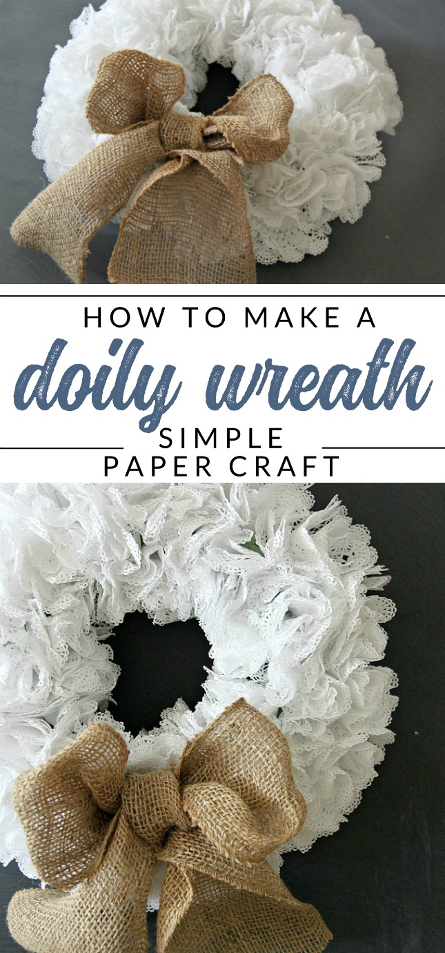 How to make a doily wreath. Follow this craft tutorial and make this simple paper craft from doilies. Use doilies and a dollar store wreath form to make a transitional wreath for all seasons. #dollarstorecrafts #doily #wreath #thecrazycraftlady