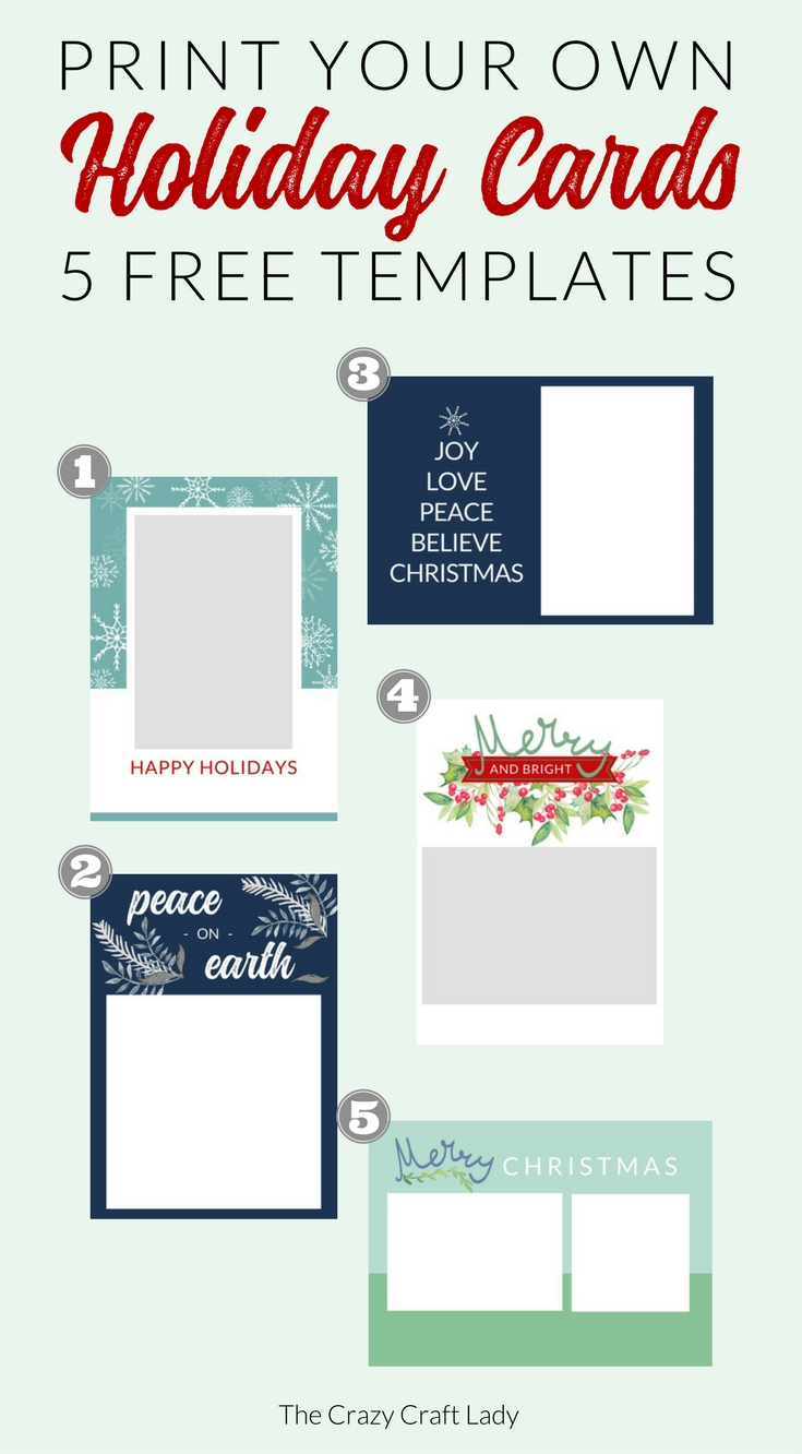 Download these free Christmas card templates - they're easy to edit, with no fancy photo editing software required. Save money on Christmas cards this year, and print exactly what you need.