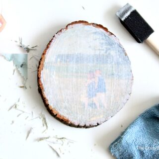 Follow this wood photo transfer tutorial, and learn how to add images to wood surfaces using Mod Podge. Discover an easy way to print pictures onto wood rounds for photo gifts.