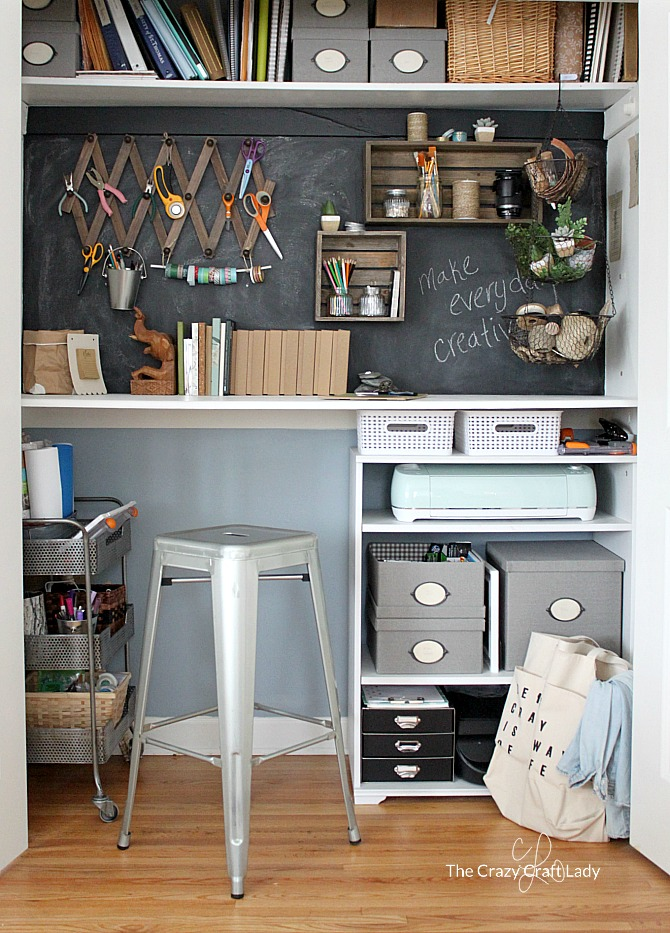 Come tour my closet desk, craft room, and home office all in one. How to organize a small space and create a functional work space for any home.