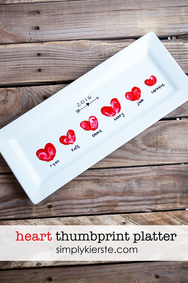 Heart Thumbprint Platter - Make it a handmade and heartfelt Valentine's Day with these 9 grandparent Valentines gift ideas. Give a handmade keepsake gift to grandma and grandpa that's filled with love.