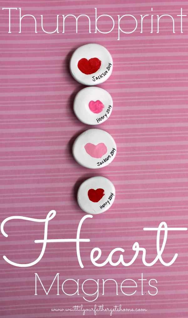 Thumbprint Heart Magnets - Make it a handmade and heartfelt Valentine's Day with these 9 grandparent Valentines gift ideas. Give a handmade keepsake gift to grandma and grandpa that's filled with love.