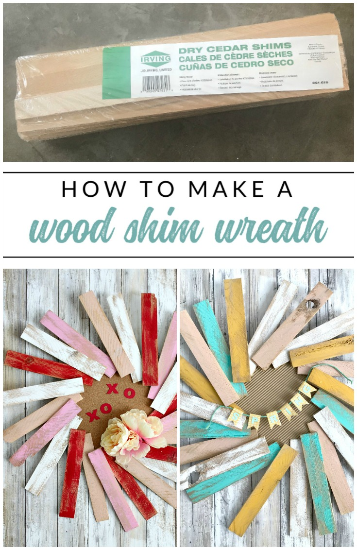 How to make a beautiful wood shim wreath for any season. Paint inexpensive wood shims to make a fun and colorful wreath for any season or holiday.