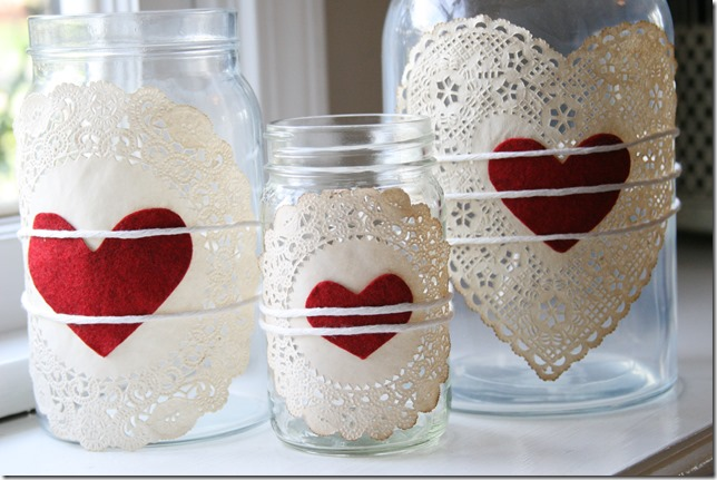 Doily Heart Jars - Make your own gorgeous Valentine's Day decor with these 19 DIY heart decorations. These awesome Valentine tutorials provide plenty of decor inspiration.