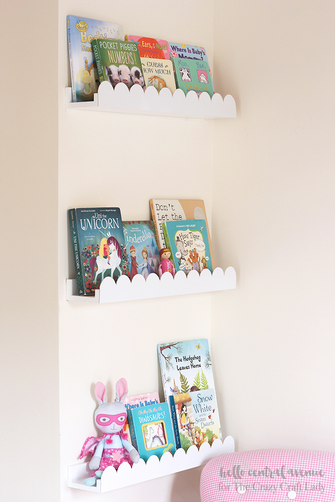 Give your boring book ledges an upgrade by adding some scalloped trim.