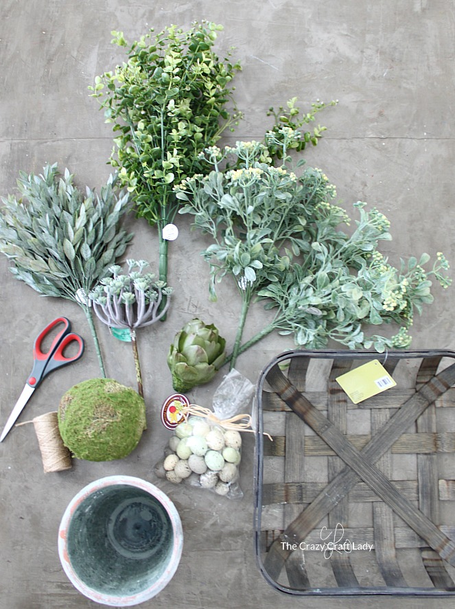 Spring Greenery Basket Supplies - How to make a tobacco basket spring centerpiece