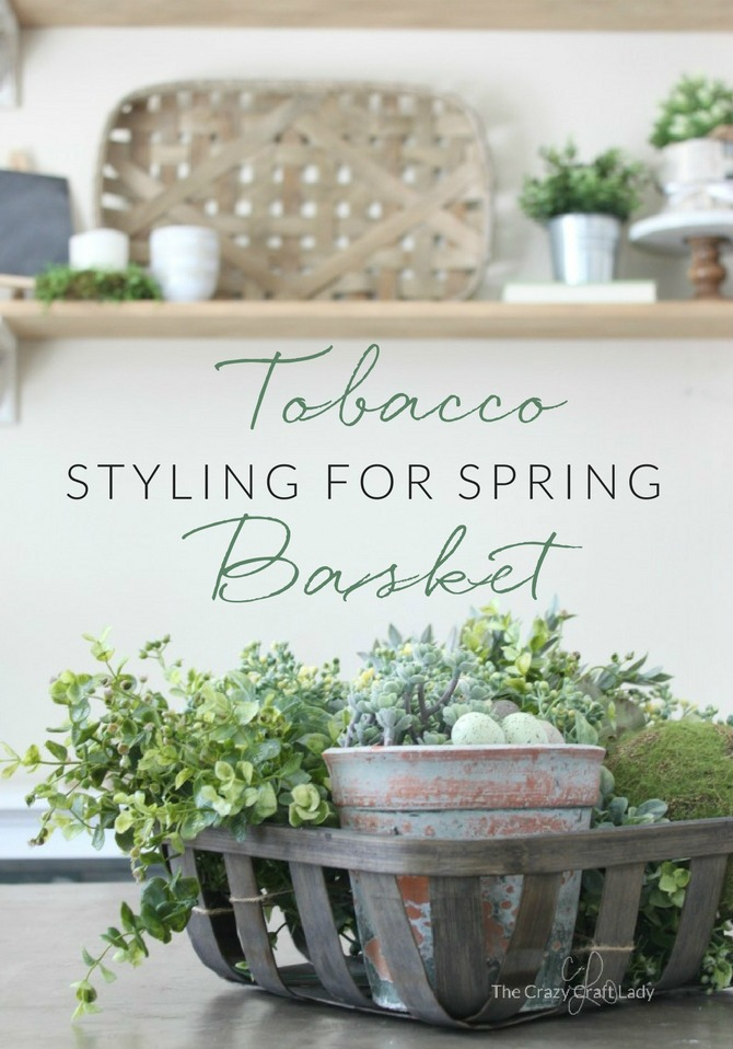 Welcome the new season and give your home decor a spring refresh with a simple tobacco basket spring centerpiece. How to style a spring greenery tobacco basket.