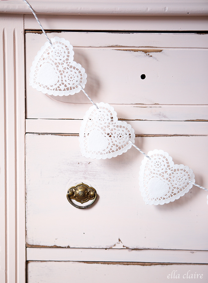 Valentine Doily Garland - Make your own gorgeous Valentine's Day decor with these 19 DIY heart decorations. These awesome Valentine tutorials provide plenty of decor inspiration.