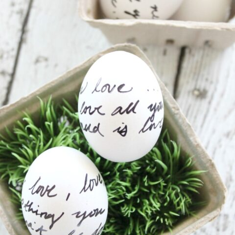 Sharpie and Letter Script Decorated Eggs