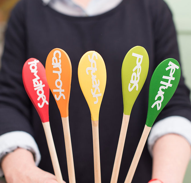 finished wooden spoon garden markers