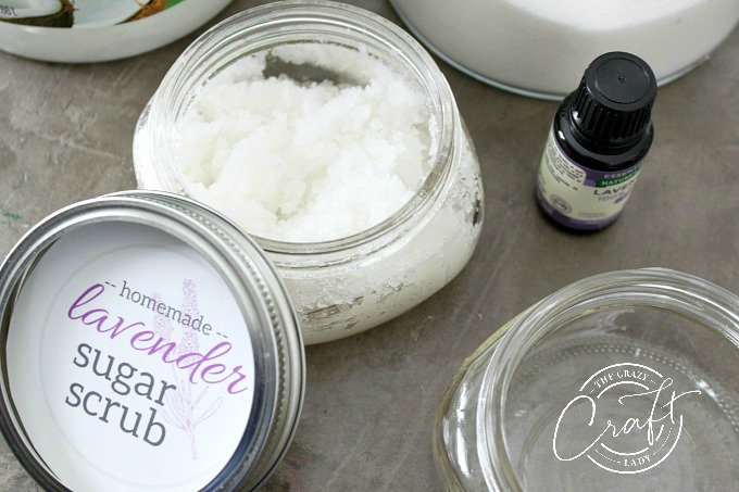 how to make relaxing homemade lavender sugar scrub with essential oils and coconut oil