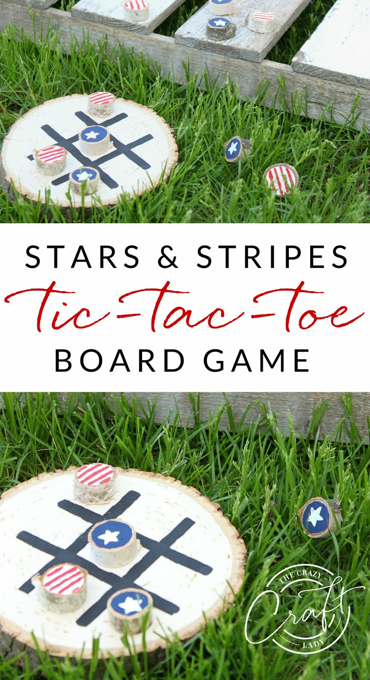 How to make a DIY Tic Tac Toe Board with stars and stripes painted pieces. Paint wood rounds and make your own tic-tac-toe summer board game.