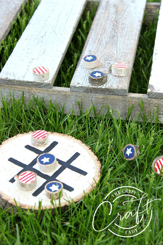 Summer Stars and Stripes Wooden Tic Tac Toe Board