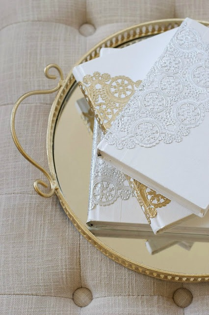 DIY paper doily book covers