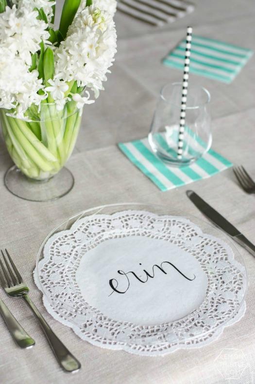 doily plates - simple place setting idea