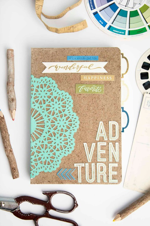mod podge paper doily journal cover