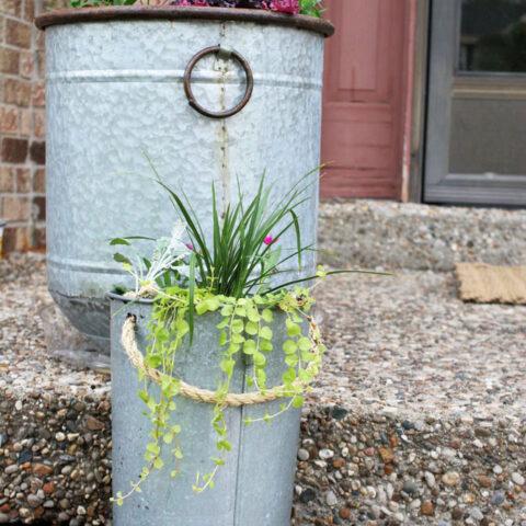 DIY Farmhouse Style Pail Planter