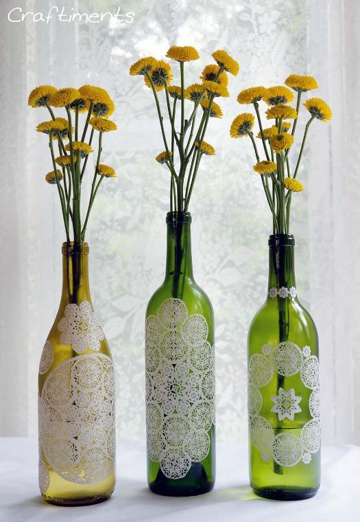 DIY paper doily decoupage wine bottles
