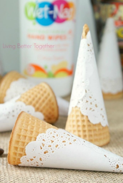 paper doily ice cream cone wrappers