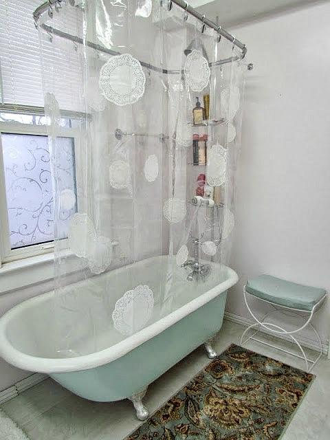 paper doily mod podge shower curtain