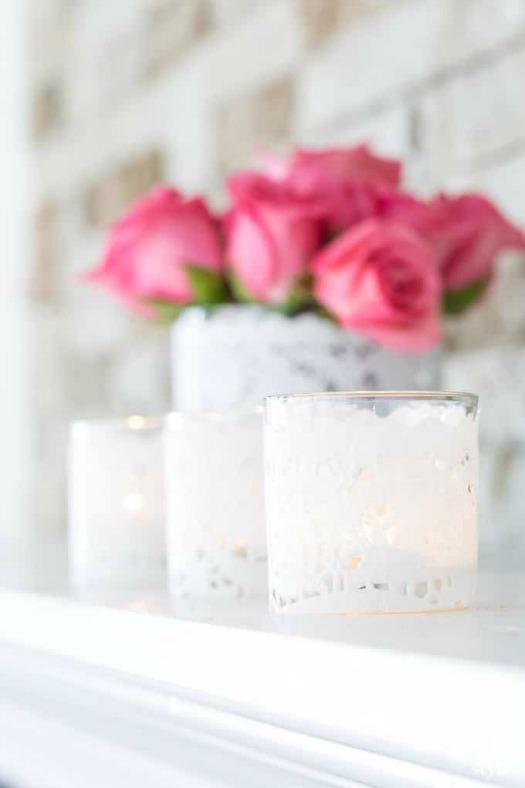 paper doily votive candle holder