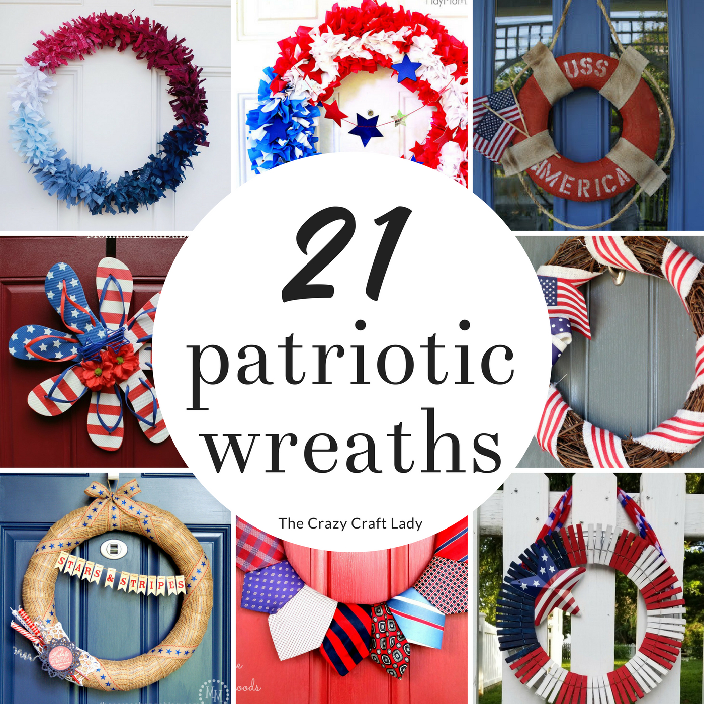 These 21 patriotic wreaths are perfect for summer crafting or making a quick DIY 4th of July decoration. Make a red, white, and blue wreath for your front door or for a patriotic home decoration.