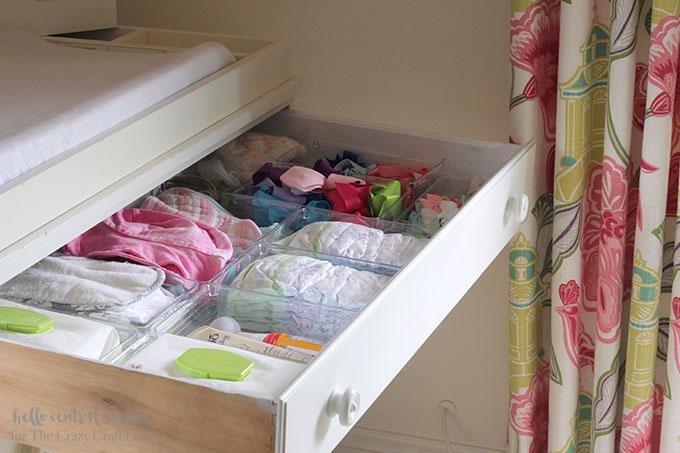 Baby dresser organization - organize a nurser dresser with dollar store bins