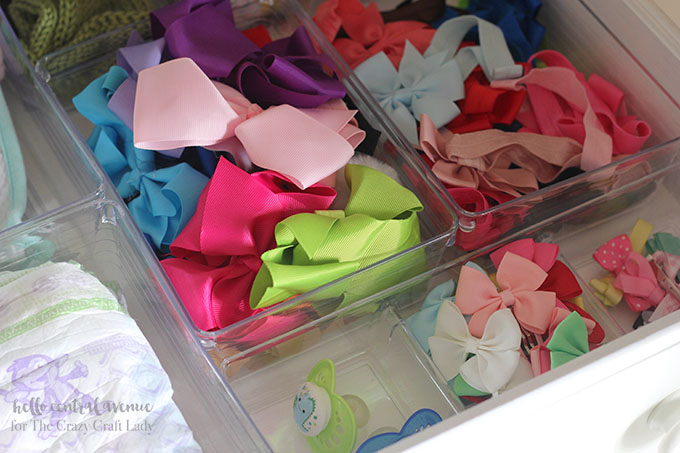 Organize little girl hair bows with dollar store bins