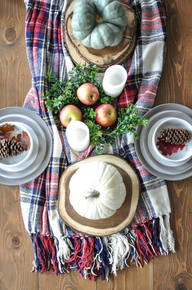 Cozy Tablescape - Plaid Scarf Table Runner