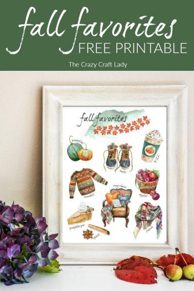 Fall Favorites Printable - FREE Fall Watercolor Print - fall essentials watercolor print