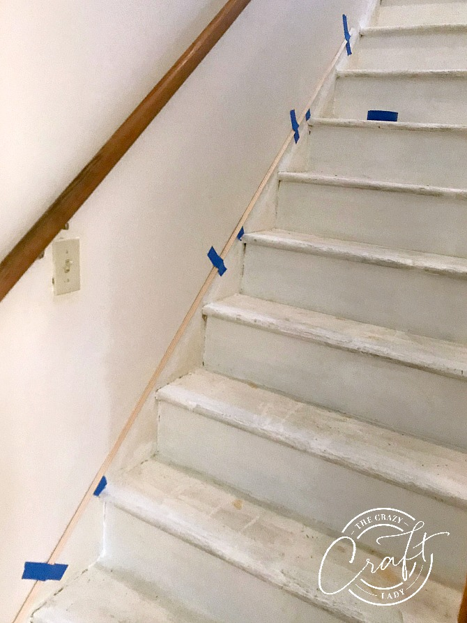 Faux Stair Skirt Board with Trim