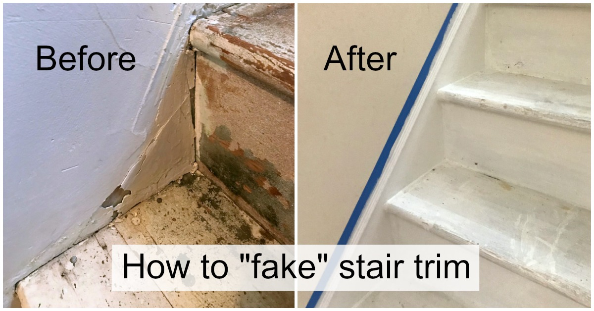 How to fake the look of stair trim - DIY Faux Stair Skirt Board