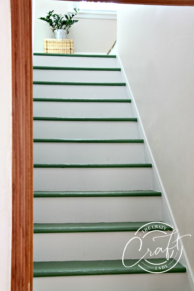 Painted Green Stairs and DIY Stair Trim