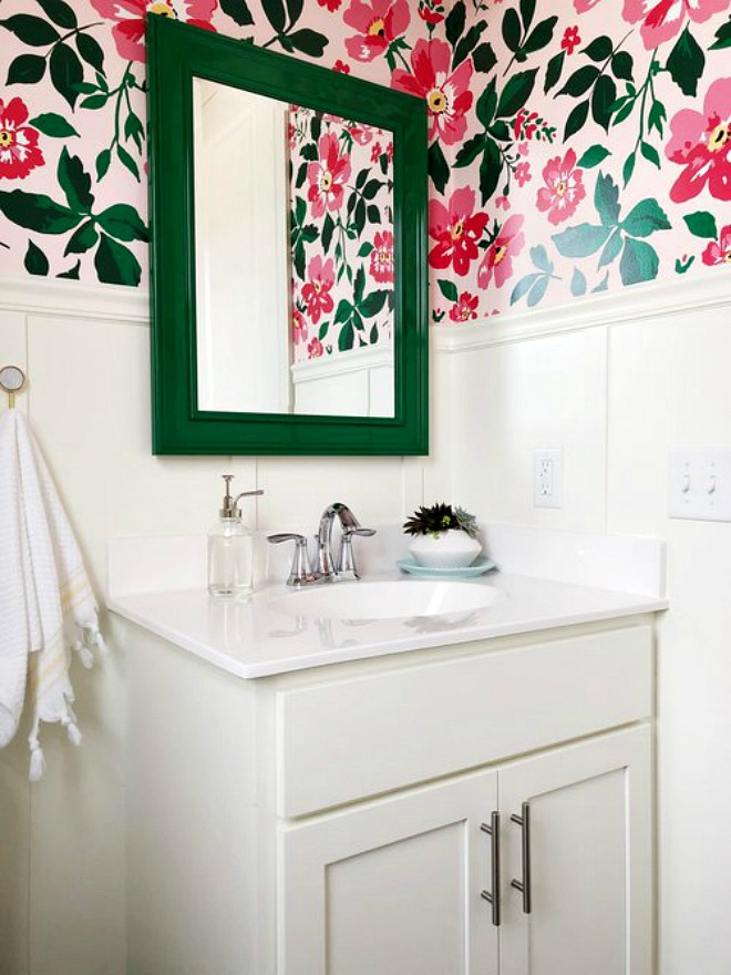 Bathroom Wallpaper Ideas - bright pink and green floral powder room design