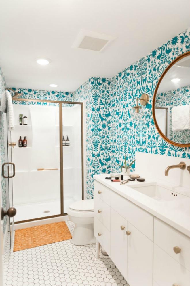 Bathroom Wallpaper Ideas - bright teal and white bathroom design